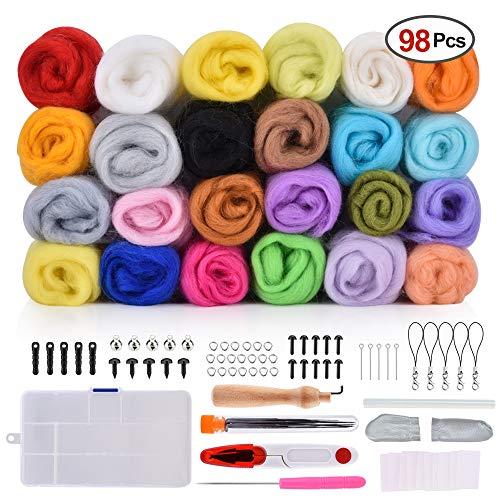 BASEIN Filzwolle Märchenwolle, 24 Farben 5g/Farben Filzwolle mit Werkzeug Set, 98 Stück Nadelfilz Wolle Set für Nassfilzen und Trockenfilzen DIY Handwerk -