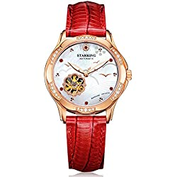 STARKING Women's AL0231RL51 Beach Rose-Gold Plated Skeleton Automatic Dress Watch with Red Leather Strap