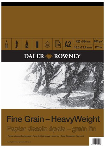 Daler Rowney Fine Grain Heavyweight Gummed Pad A2 - Zeichnung Pad Dekorative