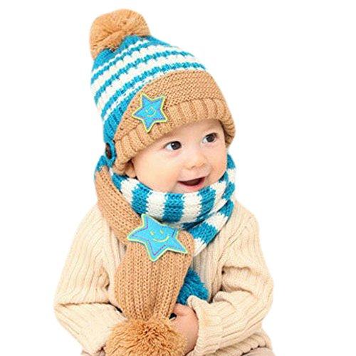HappyCherry® Unisex Baby Mütze Säugling Lächeln Stern Strickmütze mit Schal 2 Stücke Set - Blau