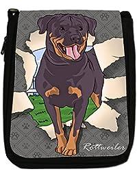 Break Through Dogs Medium Black Canvas Shoulder Bag - Size Medium