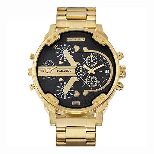Schöne Uhren, CAGARNY 6820 Modische Business Style Große Zifferblatt Kalenderanzeige Männer Quarz Dual Movement Uhr mit Edelstahlband ( SKU : Wa1426jb )