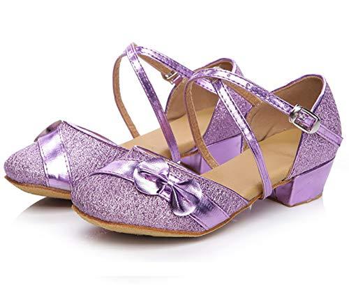 chuhe für Latein Salsa Ballsaal Dance Schuhe mit Schleife Lila 30 ()