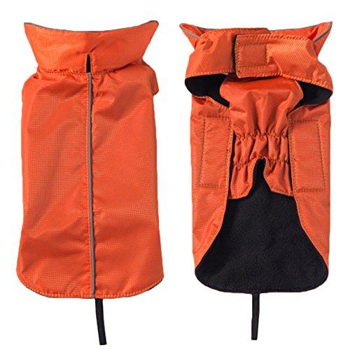 KingNew Hunde, warm, ultra-leicht atmungsaktive 100% wasserdichte Regenjacke mit Leine, Größe XS, Orange
