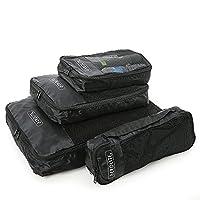 Aerolite Luggage Packing Cubes Travel Organiser 4 Piece Set (Black)