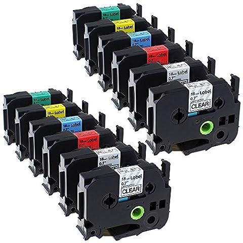 Caidi 12 Pack Combo Set Compatible Brother P-touch TZ141 TZ241 TZ441 TZ541 TZ641 TZ741 TZ TZe Label Tape