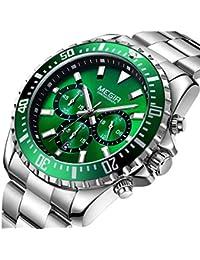 Megir Relojes Hombre Deportivos Grande Luminoso, Reloj cronógrafo de cuarzo analogico con correa en Acero
