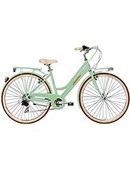 """Bicicleta de paseo Cicli Adriatica Retro mujeres cuadro en aluminio 28"""" 6 velocidad (Verde)"""