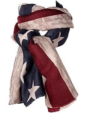 Jewelrywe Estrella Junto Detrás de gran tamaño de la bandera americana de Estados Unidos Mujeres bufanda del mantón...