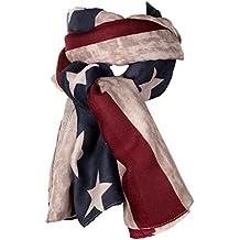 Jewelrywe Stella Lungo Retro Sovradimensionato Bandiera Americana Stati Uniti Donna Cotton Scarf Scialle