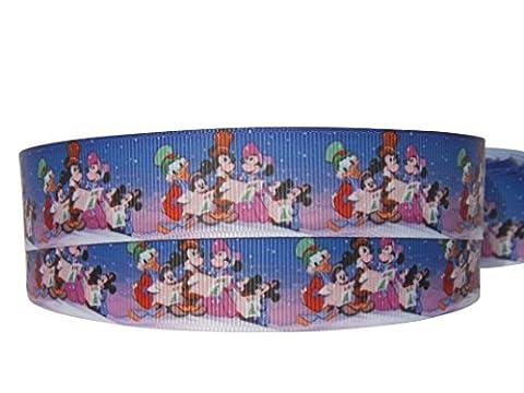 2m x 22mm Geschenk-Ripsband, Design Weihnachten Disney Mickey, Minnie, Donald Duck Weihnachtslieder, für Weihnachtskuchen, Geschenke, Geschenkpapier,
