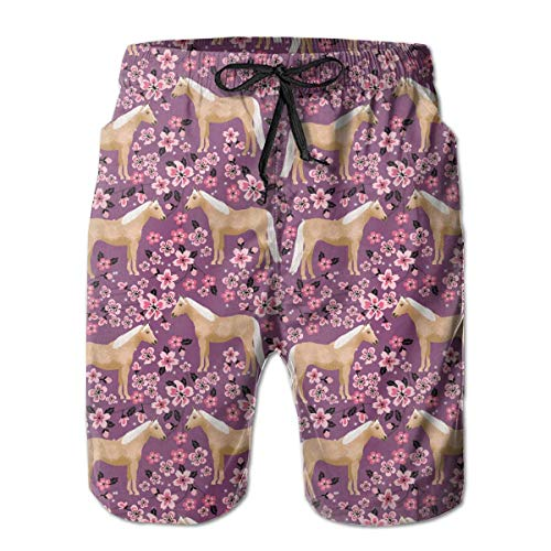 Horse Cherry Blossoms Men's Funny Quick Dry Swim Trunk Summer Beach Board Shorts with Mesh Lining-L - Cherry Wand