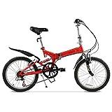 20-Zoll-Faltrad mit variabler Geschwindigkeit Fahrrad-Stoßdämpfer für Erwachsene Radfahren ( Farbe : Rot )
