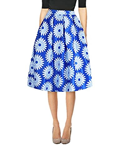 Uideazone Summer Womens Girls Floral Midi Skirts High Waisted Full