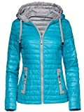 Trisens New Damen Jacke TAILLIERT ÜBERGANGSJACKE Kapuze GESTEPPT S-XXL, Farbe:Hellblau, Größe:M