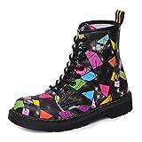 Frauen Martin Kurze Stiefel Bunte Druck Leder Flache Ferse Dicker Plüsch Warme Beiläufige Schnürsenkel Ankle Schuhe . Picture Color . 37