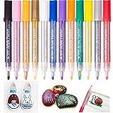 Acryl-Farbmarker, mitteldicke Spitze, Permamentmarker, leuchtende Farbe, 12/24verschiedene Farben 12 colours