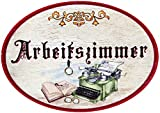 Kaltner Präsente Geschenkidee - Türschild Nostalgie aus Holz im Antik Design ARBEITSZIMMER