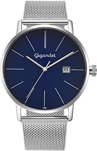 Gigandet Men's Quartz Wrist Watch Minimalism Analogue Stainless Steel Mesh Bracelet Silver Blue G42-014