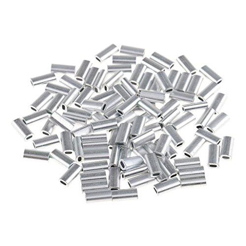 Homyl 100 Stücke Single Aluminium Fischen Crimp Ärmel Rohr Draht Führer Hülse - 1,5 mm -