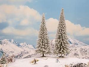 NOCH 21966 Snowy Fir - Árboles de Nieve (2 Unidades, 18 y 20 cm de Alto), Color Blanco