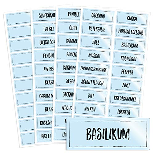 76 transparente Gewürzetiketten / Gewürzaufkleber mit schwarzer Kreideschrift-Optik - für Regale, Gläser oder Dosen - beschriftet, selbstklebend, auch in weißer Schrift erhältlich, 5,2 x 2,0 cm -