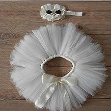Foto Koly Niñas bebés Trajes apoyo de la fotografía Costume Outfits, falda y flor diadema (Blanco)