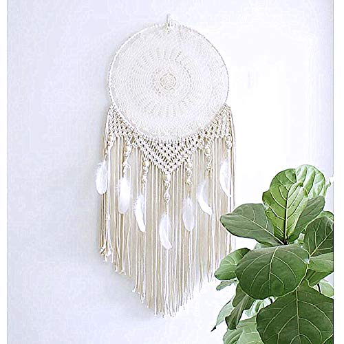 Kreative Weiße Feder Großer Kreis Dream Catcher Lace Home Hall Decor Pendent (Dream Home Decor Catcher)