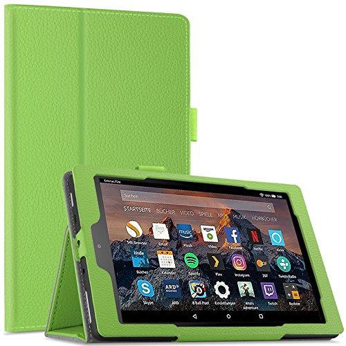 Infiland Hülle für Fire HD 8 Tablet (7. und 8. Generation - 2017 und 2018), Slim dünne Schutzhülle Tasche für Fire HD 8 (8Generation) / Fire HD 8 (7Generation)(mit Auto Schlaf/Wach Funktion)(Grün) Hd-tasche