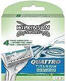 Wilkinson Sword Quattro Titanium Sensitive Razor Blades - Pack of 8 Blades