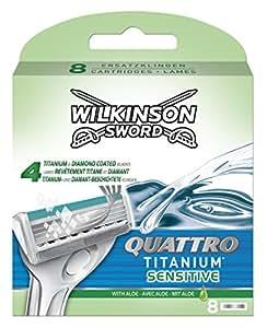 Wilkinson Sword Quattro Titanium Sensitive Klingen, 8 Stück