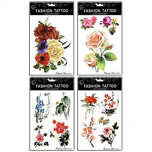 Grashine lungo e realistico temp tattoo stickers 4pcs different rose e peonie e cinese pittura fiori tatuaggio temporaneo in 1pacchetto
