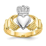 white-and-yellow-gold 14 K Herren Bicolor Ring Claddagh