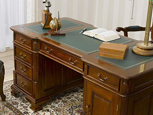 Simone Guarracino Partner Schreibtisch Victorian Englischer Stil Büro Doppelschreibtisch 180 cm walnuss Kunstleder grün