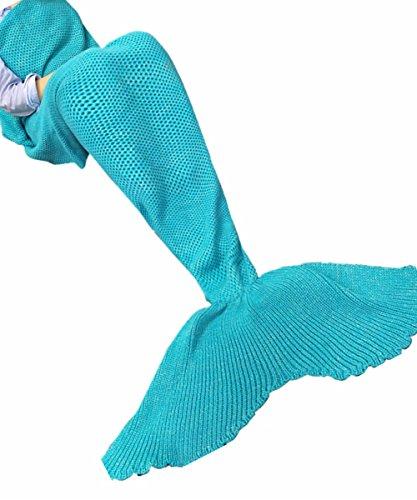 iEFiEL Mädchen Damen Kostüm Meerjungfrau Fischschwanz Decke Schwanz Flosse Handgemachte Schlafsack Blanket Kostüm Häkel Erwachsene Decke, Himmelblau, Erwachsene Größe
