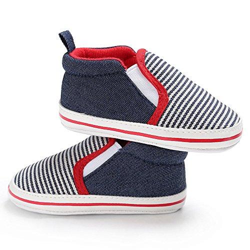 Baby Streifen ein Pedal Leinwand Schule Schuhe Alter: 0 ~ 12 Monat kingko Blau