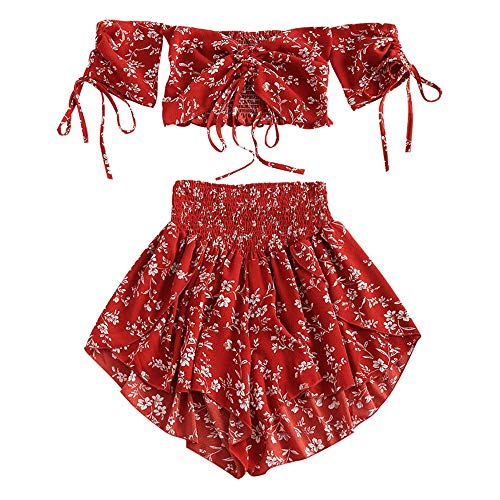 ZAFUL Damen Floral Schulterfrei Smocked Shorts Set Blume Cinched Top Suit Kastanienrot M