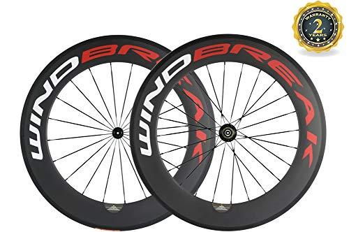 WINDBREAK BIKE 88/23mm Carbon Bicycle Clincher Wheelset 700c Wheel Matte Finish