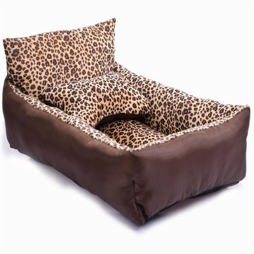 Kondrao Mode Natürlichen Leopard Kurz die Mittlere Oder Kleine Haustiere Bett Mit Rückenlehne Mittlere Hunde Schlafsofa Braunes (L)