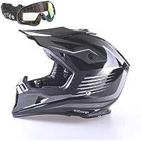 NEW Moto VIPER RS-X95RAZR CARBON Casco Motocross Quad ATV Off Road Enduro MX nero con occhiali, Black, XS
