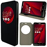 ANNART Housse Coque View Case Flip Folio Leather Cover pour ASUS Zenfone 2 Laser ZE600KL/ZE601KL 6.0' - Noir