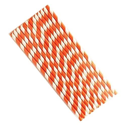 halm Biologisch Papier Trinkhalme Strohhalme für Geburtstag Feiern Partys Orange Streifen Form ()