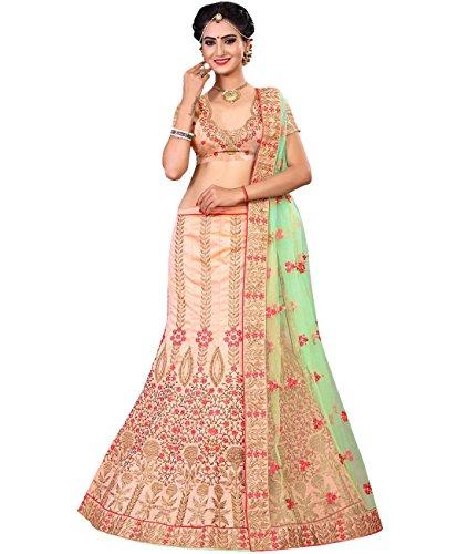 Indian Ethnicwear Bollywood Pakistani Wedding Peach A-Line Lehenga Semi-stitched-MAL53790