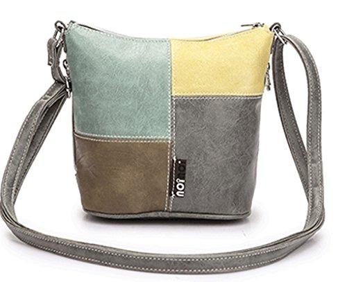 Multicolor Damen-Schultertasche Umhängetasche aus PU Leder mehrfarbig Patchwork Design Gelb