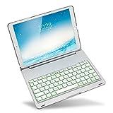 Deutsch iPad Pro 10.5 Tastatur, iEGrow F105 7 Farben LED Hintergrundbeleuchtung Tastatur mit Schutzhülle Hülle für Apple 10.5 Zoll iPad Pro 2017 Version [QWERTZ deutsches Tastaturlayout] (Silber)