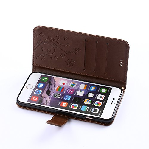 Custodia per Apple iPhone 4s,TOCASO Bianco Flip Wallet Case PU Pelle [Strap/Lanyard] Caso per Apple iPhone 4s Portafoglio Cover Ultra Sottile Leather Protettivo Cases Covers Shell ID Carta Slots Caso  Marrone Caffè