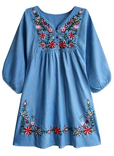 FUTURINO Damen Sommerkleid Bohemian Stickerei Floral Tunika Shift Bluse Flowy Minikleid, L, Hell Denim (Denim Floral Mädchen)