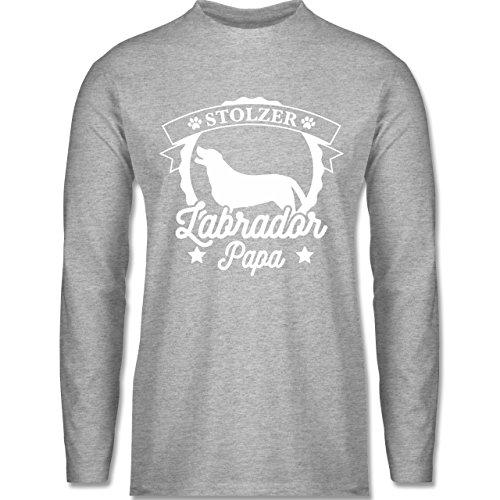 Shirtracer Hunde - Stolzer Labrador Papa - Herren Langarmshirt Grau Meliert