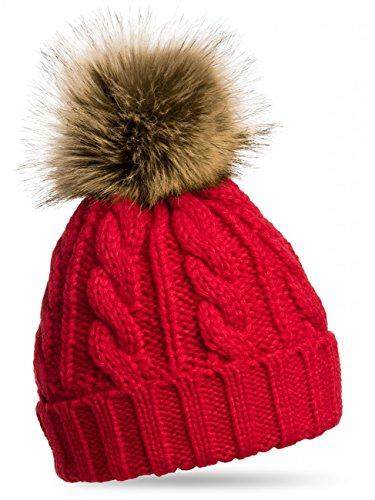 CASPAR MU104 Damen Mütze / Strickmütze mit Fellbommel, Farbe:rot;Größe:One Size