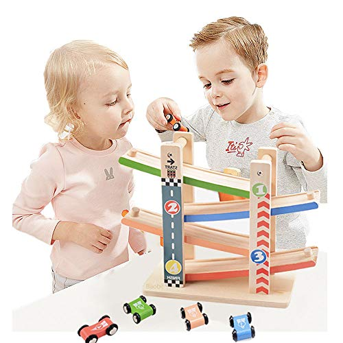 Baobë Wooden Track,Educational&Creative Toys of the Click Clack Track with 【4】 Zig Zag Car Slider